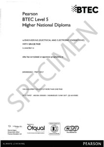 pearson btec level  higher national diploma  engineering electrical  electronic
