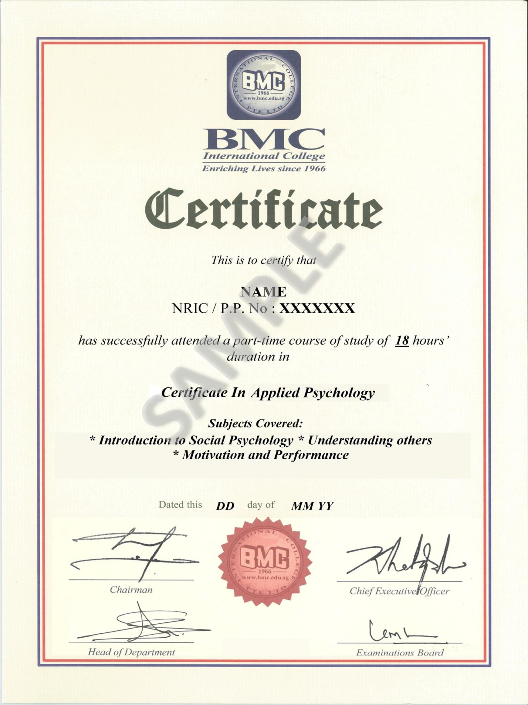 certificate psychology applied bmc sg